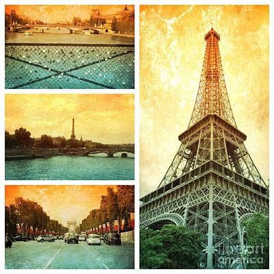 Sights Of Paris Collage Print by Carol Groenen