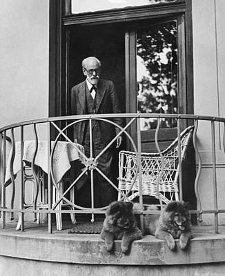 Sigmund Freud With His Chows Print by Underwood Archives