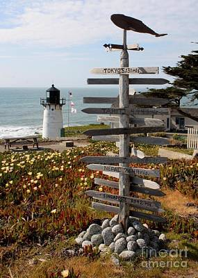 Sign At Point Montara Print by Carol Groenen