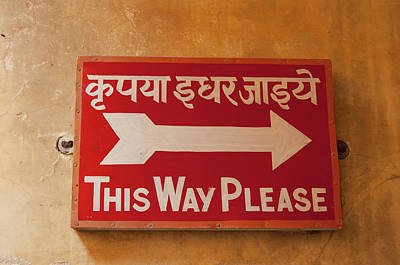 Sign In Hindi And English, City Palace Print by Inger Hogstrom