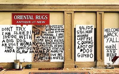 Sign Of Distress Post Hurricane Katrina Message Print by Michael Hoard