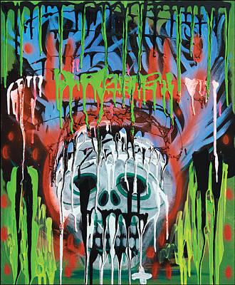 Macabre Painting - Siko Skull by Laura Barbosa