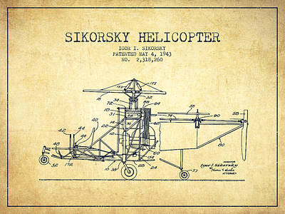 Helicopter Drawing - Sikorsky Helicopter Patent Drawing From 1943-vintage by Aged Pixel