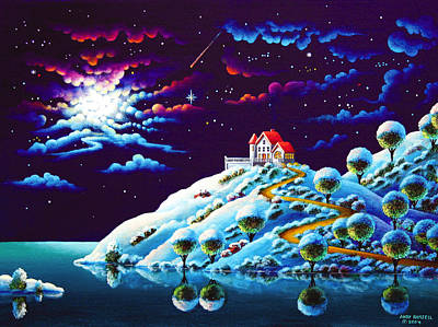 Snowy Night Painting - Silent Night 9 by Andy Russell