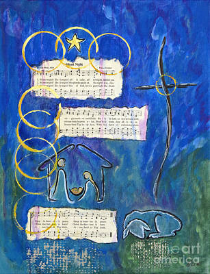 Religious Art Mixed Media - Silent Night A Holy Night - Original Painting By Ella by Ella Kaye Dickey