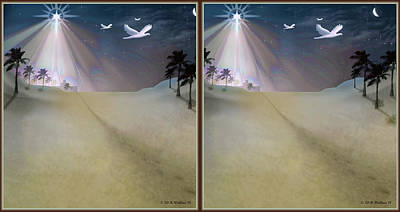 Manger Digital Art - Silent Night - Gently Cross Your Eyes And Focus On The Middle Image by Brian Wallace
