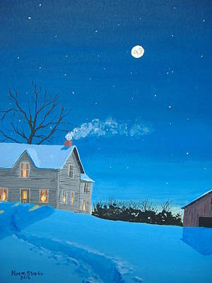 Snowscape Painting - Silent Night by Norm Starks