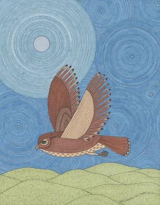 Moonlit Night Drawing - Silent by Pamela Schiermeyer