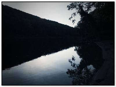 Bw Silhouette Delaware River Nj Print by Maggie Vlazny