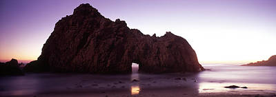 Silhouette Of A Cliff On The Beach Print by Panoramic Images