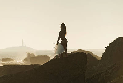 Two Piece Photograph - Silhouette Of A Female Surfer Holding by Ben Welsh