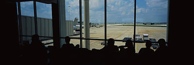 International Airport Photograph - Silhouette Of A Group Of People At An by Panoramic Images
