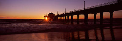 Silhouette Of A Pier, Manhattan Beach Print by Panoramic Images