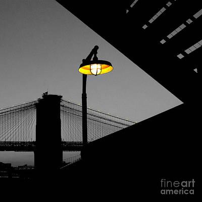 Silhouette Of Brooklyn Bridge New York City Print by Sabine Jacobs