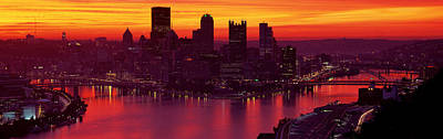 Silhouette Of Buildings At Dawn, Three Print by Panoramic Images