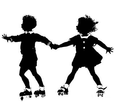 Scherenschnitte Digital Art - Silhouette Of Children Rollerskating by Rose Santuci-Sofranko