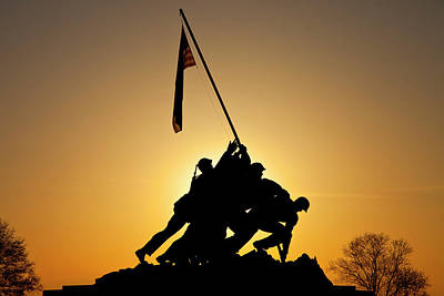 Silhouette Of Iwo Jima Memorial Print by Brian Jannsen