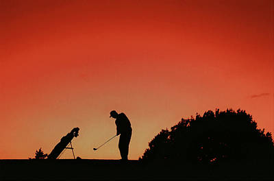 Amateur Painting - Silhouette Of Man Playing Golf  by Lanjee Chee