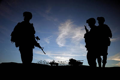 Silhouette Of Modern Soldiers  Print by Matthew Gibson