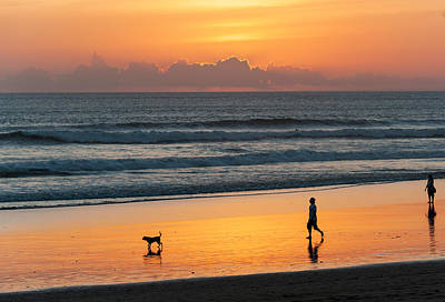 Silhouette Of People And Dog Walking Print by Panoramic Images