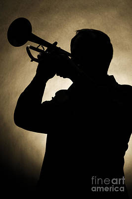 Band Photograph - Silhouette Of Trumpet Player In Sepia 3019.01 by M K  Miller