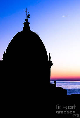 Silhouette Of Vernazza Duomo Dome Print by Prints of Italy