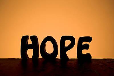 Positive Attitude Photograph - Silhouette Single Word Hope by Donald  Erickson