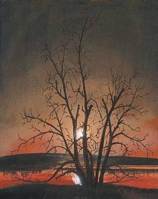 Abandoned Farm House Painting - Silhouette Tree North Dakota by David Wolfer