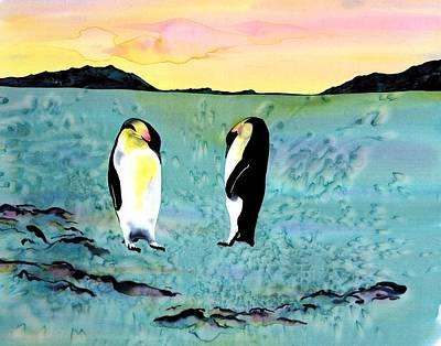 Silk Penguins Print by Carolyn Doe