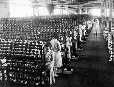 Building Factory Work Vintage Photograph - Silk Winding Machines by Underwood Archives