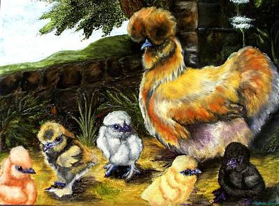 Hens And Chicks Painting - Silkie Hen And Chicks by Amanda Hukill
