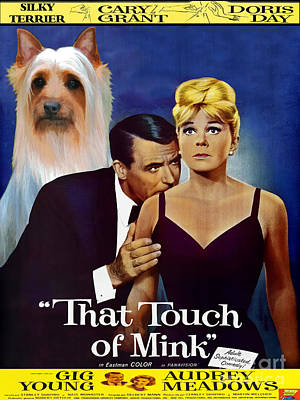 Silky Terrier Painting - Silky Terrier Art Canvas Print - That Touch Of Mink Movie Poster by Sandra Sij