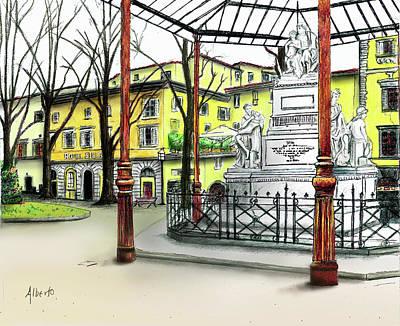 Tuscany Drawing - Silla Hotel Piazza Demidoff Florence by Albert Puskaric