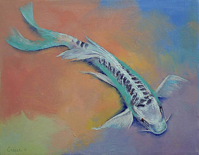 Butterfly Koi Painting - Silver And Jade by Michael Creese