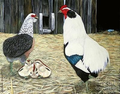 Hens And Chicks Painting - Silver   Araucana  Sop by Amanda Hukill