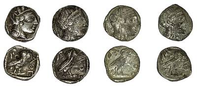 Silver Athena Coins Print by Photostock-israel