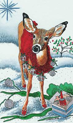 Christmas Greeting Mixed Media - Silver Bells by Joy Bradley