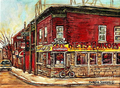 Verdun Landmarks Painting - Silver Dragon Mets Chinois Verdun Resto Montreal Paintings Authentic Original Verdun Art Cspandau  by Carole Spandau