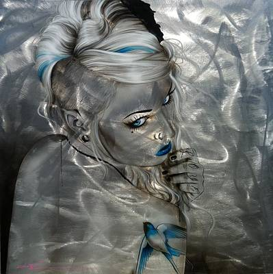 Piercing Painting - Portrait - ' Silver Flight ' by Christian Chapman Art