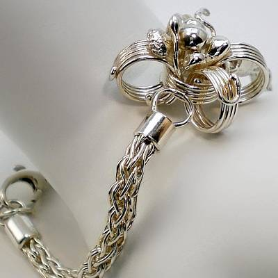 Sterling Silver Bracelet Jewelry - Silver Flower And Handmade Chain Bracelet by Sholeh Mesbah