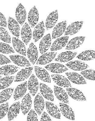 Glitter Painting - Silver Glitter Flower by Tamara Robinson
