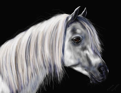 Pet Portraits Digital Art - Grey Arabian Mare Painting by Michelle Wrighton