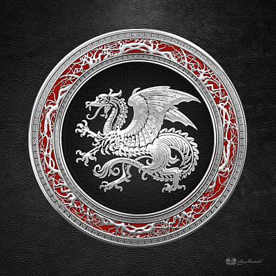 Amulet Digital Art - Silver Icelandic Dragon  by Serge Averbukh