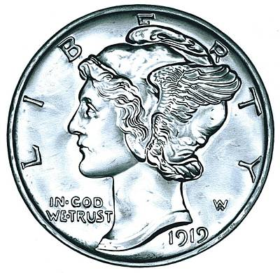 Adolph Drawing - Silver Mercury Dime by Fred Larucci