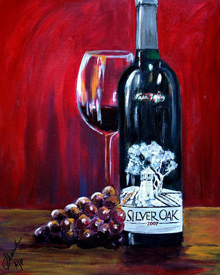 Wine Bottle Painting - Silver Oak Of Napa Valley And Grape by Sheri  Chakamian