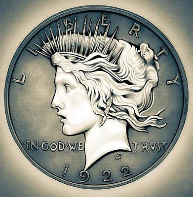 1922 Silver Proof Peace Dollar Original by Fred Larucci