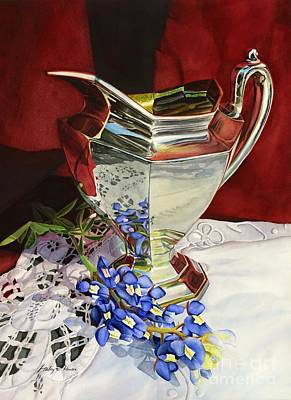 Texas Hill Country Painting - Silver Pitcher And Bluebonnet by Hailey E Herrera