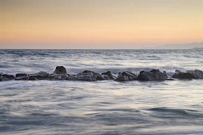 Silver Sea At Sunset Print by Guido Montanes Castillo