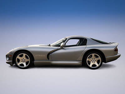 Dodge Digital Art - Silver Viper by Douglas Pittman