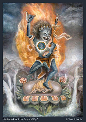 Simhamukha And The Death Of Ego Print by Vera Atlantia